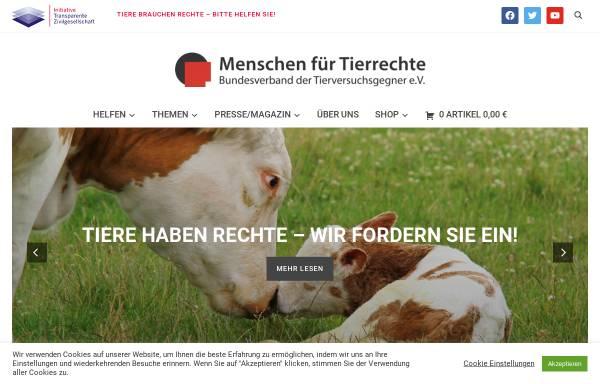 Vorschau von www.tierrechte.de, Menschen für Tierrechte - Bundesverband der Tierversuchsgegner e.V.