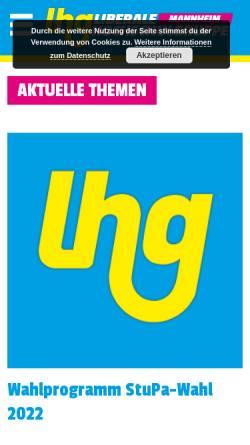 Vorschau der mobilen Webseite lhg-bw.de, LHG - Liberale Hochschulgruppe Mannheim