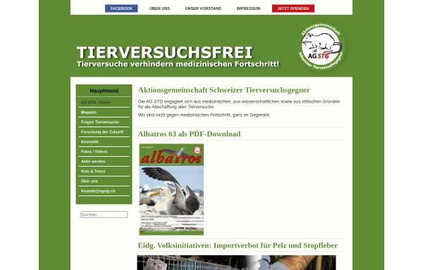 Vorschau von www.agstg.ch, Aktionsgemeinschaft Schweizer Tierversuchsgegner