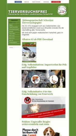 Vorschau der mobilen Webseite www.agstg.ch, Aktionsgemeinschaft Schweizer Tierversuchsgegner