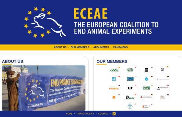 Vorschau von www.eceae.org, Europäischen Koalition zur Beendigung von Tierversuchen