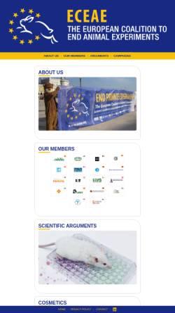 Vorschau der mobilen Webseite www.eceae.org, Europäischen Koalition zur Beendigung von Tierversuchen