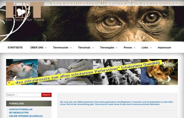 Vorschau von www.tierversuchsgegner.at, Internationale Bund der Tierversuchsgegner (IBT)