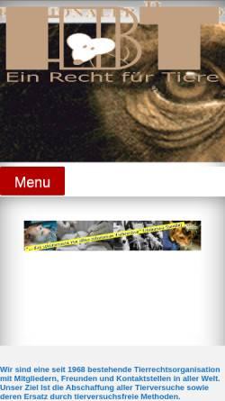 Vorschau der mobilen Webseite www.tierversuchsgegner.at, Internationale Bund der Tierversuchsgegner (IBT)