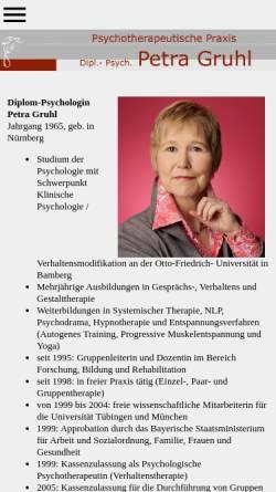 Vorschau der mobilen Webseite www.praxis-gruhl.de, Verhaltenstherapie - Petra Gruhl