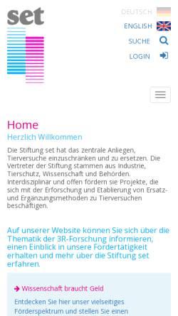 Vorschau der mobilen Webseite www.stiftung-set.de, Stiftung zur Förderung der Erforschung von Ersatz- und Ergänzungsmethoden zur Einschränkung von Tierversuchen
