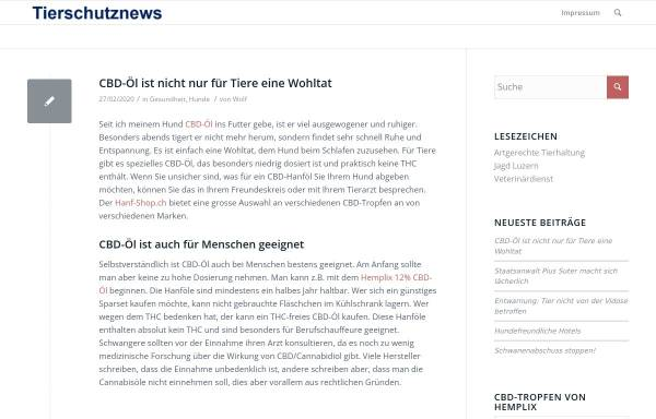 Vorschau von www.tierschutznews.ch, Tierschutznews