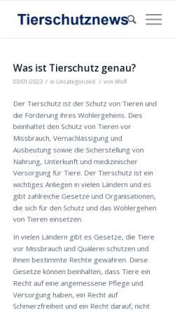 Vorschau der mobilen Webseite www.tierschutznews.ch, Tierschutznews