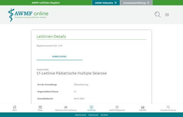 Vorschau von www.awmf.org, Multiple Sklerose im Kindesalter