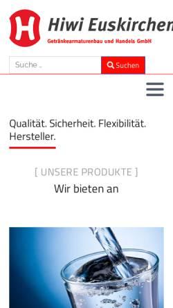 Vorschau der mobilen Webseite www.hiwi.de, Hiwi-Getränkearmaturenbau und Handels GmbH & Co. KG