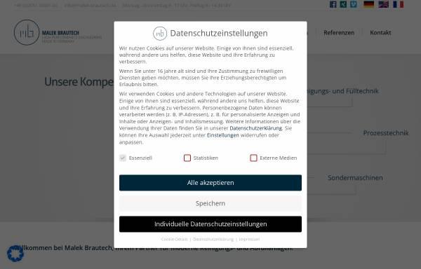 Vorschau von www.malek-brautech.de, Malek Brautech GmbH