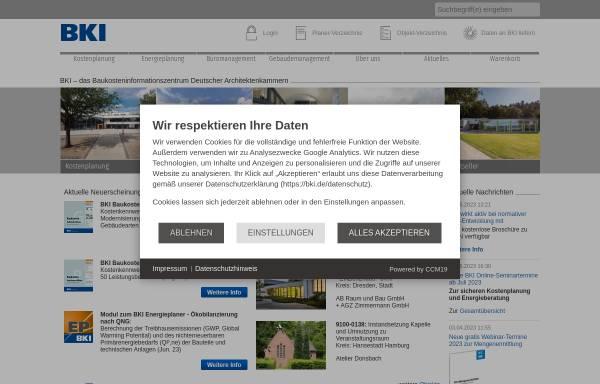 Vorschau von www.bki.de, Baukosteninformationszentrum Deutscher Architektenkammern GmbH