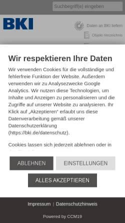 Vorschau der mobilen Webseite www.bki.de, Baukosteninformationszentrum Deutscher Architektenkammern GmbH