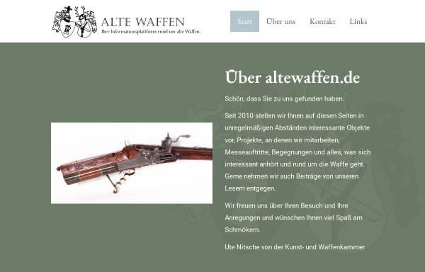 Vorschau von www.altewaffen.de, Alte Waffen - Sammler Anzeigen im Internet