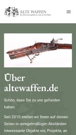 Vorschau der mobilen Webseite www.altewaffen.de, Alte Waffen - Sammler Anzeigen im Internet