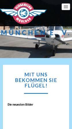 Vorschau der mobilen Webseite www.fliegerclubmuenchen.de, Flieger Club München