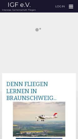 Vorschau der mobilen Webseite www.igf.info, Interessengemeinschaft Flugtechnik e.V.