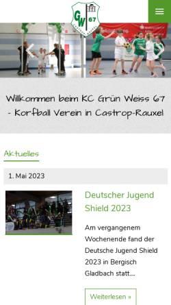 Vorschau der mobilen Webseite www.kcgruen-weiss.de, KC Grün-Weiß 67 Castrop-Rauxel