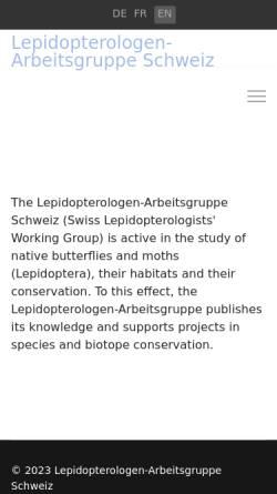 Vorschau der mobilen Webseite www.schmetterlinge.ch, Schmetterlinge der Schweiz [schmetterlinge.ch]