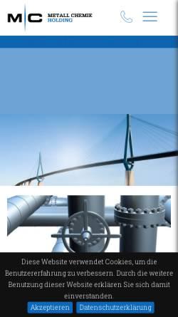 Vorschau der mobilen Webseite www.metall-chemie.com, Metall Chemie Holding GmbH