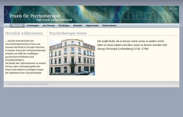 Vorschau von www.psychotherapie-berthold.de, Praxis für Psychotherapie Dipl.-Psych. Susanne Berthold