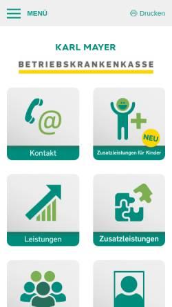 Vorschau der mobilen Webseite www.bkk-mayer.de, Betriebskrankenkasse der Karl Mayer GmbH (BKK MAYER)
