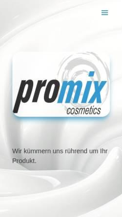 Vorschau der mobilen Webseite www.promix.de, Promix GmbH Cosmetics