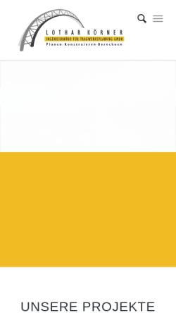 Vorschau der mobilen Webseite www.koerner-zs.de, Ingenieurbüro Lothar Körner