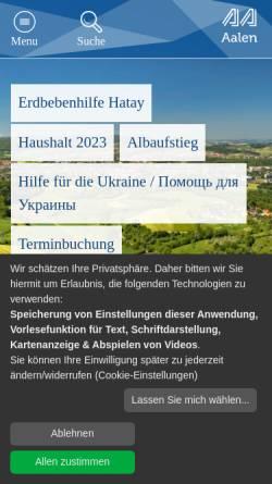Vorschau der mobilen Webseite www.aalen.de, Stadt Aalen