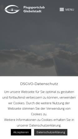 Vorschau der mobilen Webseite www.fscg.de, Flugsportclub Giebelstadt e.V.