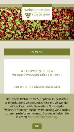 Vorschau der mobilen Webseite www.weinkommission.com, Weinkommission Kügler