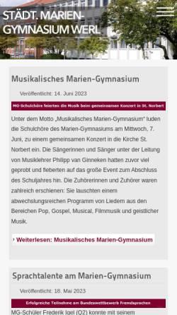 Vorschau der mobilen Webseite www.mg-werl.de, Mariengymnasium Werl