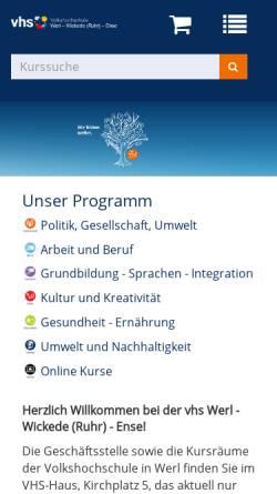 Vorschau der mobilen Webseite www.vhs-werl.de, Volkshochschule