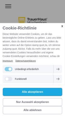 Vorschau der mobilen Webseite www.trauerhaus.de, TrauerHaus Müschenborn oHG