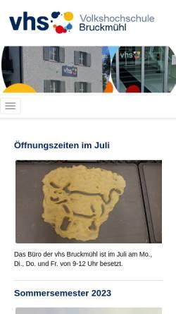 Vorschau der mobilen Webseite www.vhs-bruckmuehl.de, Volkshochschule Bruckmühl (vhs)