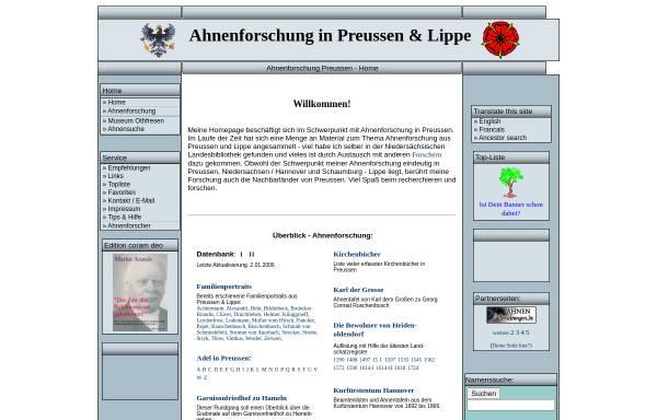 Vorschau von www.arendi.de, Ahnenforschung in Preussen & Lippe - Martin Arends