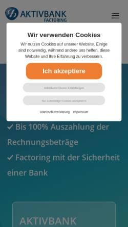 Vorschau der mobilen Webseite www.aktivbank-factoring.de, Aktivbank AG
