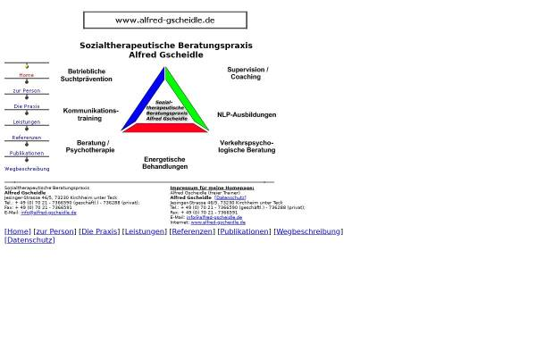 Vorschau von www.alfred-gscheidle.de, Sozialtherapeutische Beratungspraxis Alfred Gscheidle