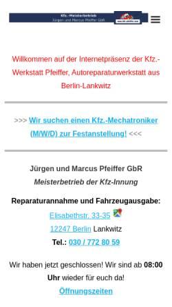 Vorschau der mobilen Webseite www.kfz-pfeiffer.com, Kfz-Werkstatt Pfeiffer in Berlin Lankwitz