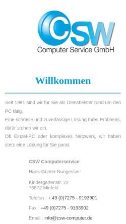 Vorschau der mobilen Webseite www.csw-computer.de, Computer Service GmbH