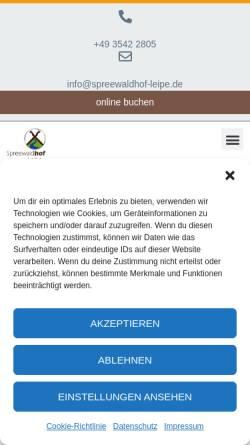 Vorschau der mobilen Webseite www.spreewaldhof-leipe.de, Pension Spreewaldhof und Gaststätte Fischerstübchen