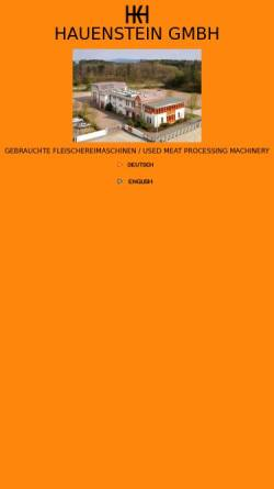 Vorschau der mobilen Webseite www.hauenstein-gmbh.de, Fleischereimaschinen Hauenstein GmbH