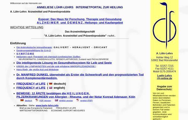 Vorschau von www.luehr-lehrs.de, A. Lühr-Lehrs Arzneimittel
