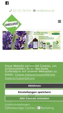 Vorschau der mobilen Webseite www.dreluso.de, Dreluso Pharmazeutika GmbH
