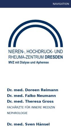 Vorschau der mobilen Webseite dialyse-dresden.de, Dialysepraxis Dr. med. Sybille Hans (Zschertnitz)