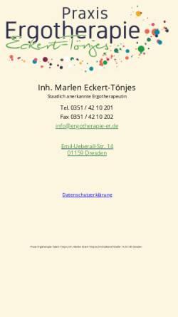 Vorschau der mobilen Webseite www.ergotherapie-et.de, Praxis Ergotherapie Eckert-Tönjes