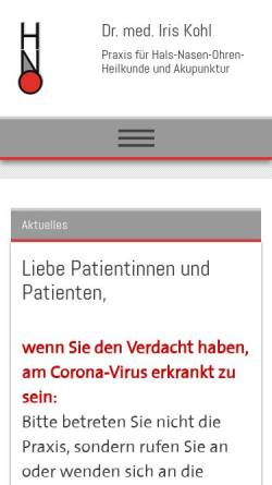 Vorschau der mobilen Webseite www.dr-kohl.de, HNO - Praxis Dr. med. Iris Kohl (Altstadt)