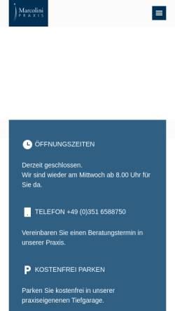 Vorschau der mobilen Webseite marcolini-praxis.de, Marcolini Praxisklinik (Radeberger Vorstadt)
