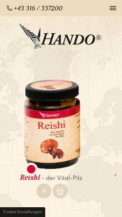 Vorschau der mobilen Webseite www.hando.com, Hando Handels GmbH