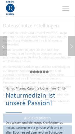 Vorschau der mobilen Webseite www.harraspharma.de, Harras Pharma Curarina